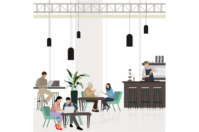 People at city cafe. Freelancer working at laptop. Coffeehouse flat