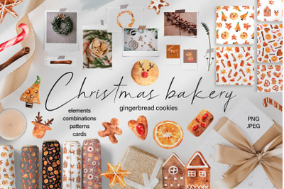 Christmas Bakery Watercolor Clipart. Patterns & Cards