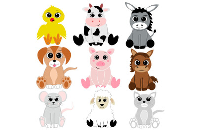 Farm Animal SVG, Farm Animal Clip Art, Cute Animals, Baby Animal SVG,