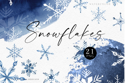 Snowfalkes clipart, Watercolor winter holiday clipart, hand drawn navy blue snowflakes for planner or gift tags