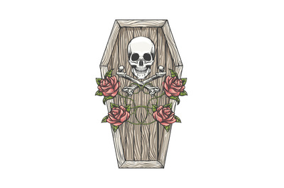 Skull with Bones and Roses on the Coffin Lid Tattoo