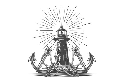 Vintage Light House Illustration in Engraving Style