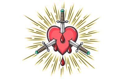 Bleeding Heart Pierced by Daggers Tattoo