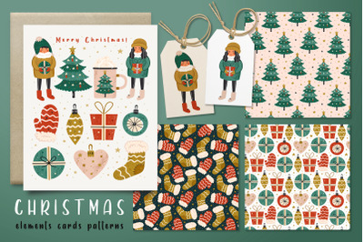 Christmas super amazing pack. Elements and patterns.