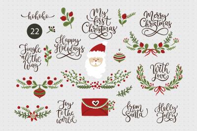 Christmas lettering & Christmas SVG set.