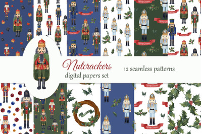 Nutcrackers Christmas Digital Paper Pack.