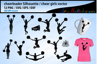 cheerleader with pom poms svg