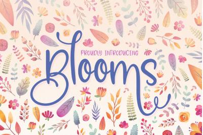 Blooms Script Font Family (Script Fonts, Pretty Fonts, Summer Fonts)