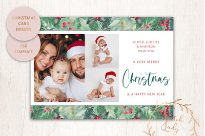 PSD Christmas Photo Card Template