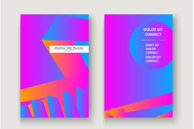 Minimal cover set design vector illustration. Neon blurred pink blue g