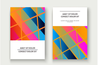 Minimal cover set design vector illustration. Neon blurred yellow red