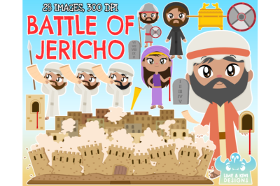 Joshua and the Battle of Jericho Clipart - Lime and Kiwi Designs