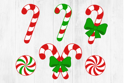 Candy Cane SVG, Candy Cane with Bow, Peppermint, Christmas SVG