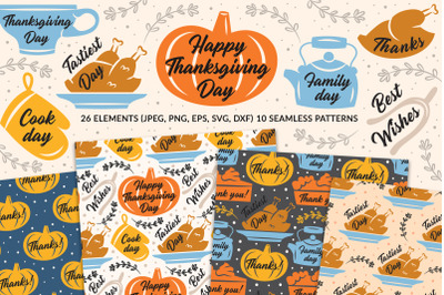 Thanksgiving elements and seamless patterns. Super pack!