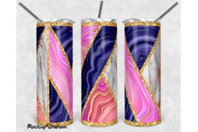 Pink Gold Glitter 20oz Skinny Tumbler Sublimation Design PNG