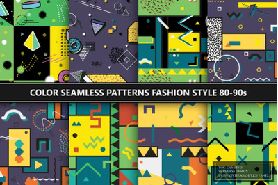 Color abstract seamless patterns