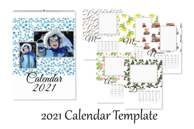 2021 Photo Calendar Template. Printable Editable Calendar. Monthly Wal