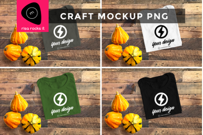 Folded Tee with Fall Gourds | PNG Mock Up