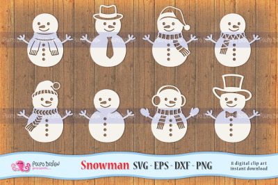 Snowman SVG, Eps, Dxf and Png.