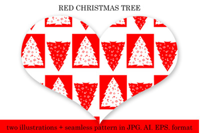 Red Christmas tree pattern