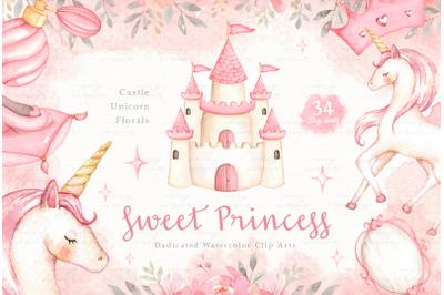 Sweet Princess Watercolor Clip Arts
