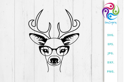 Adorable Antlers Deer With Glasses Svg File