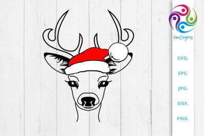 Antlers Deer With Santa Claus Hat Svg File