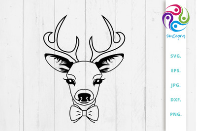 Cute Antlers Deer With Bowtie Svg File