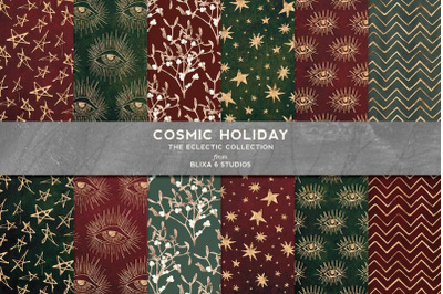 Cosmic Holiday Digital Background Patterns