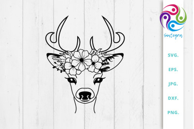 Floral Deer With Antlers Svg File