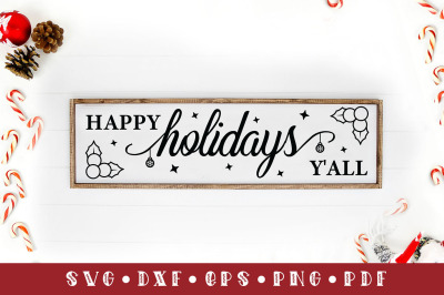 Happy Holidays Y'all, Christmas Sign SVG Cut File