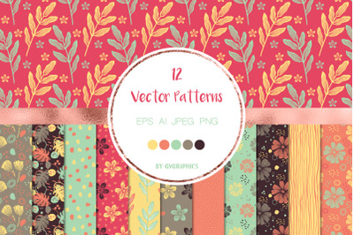 12 Flowers and Doodles Vector Patterns