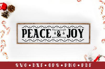 Peace & Joy, Christmas Sign SVG Cut File, SVG, DXF, PNG, EPS