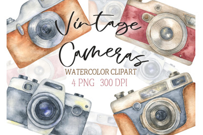 Watercolor Vintage Retro Camera Clipart Photo Hand painted Digital log