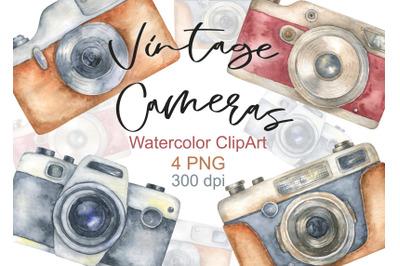 Watercolor Vintage Retro Camera Clipart Photo Hand painted Digital log