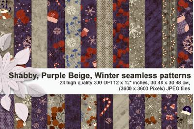Purple Beige, Winter & Christmas, shabby seamless patterns.