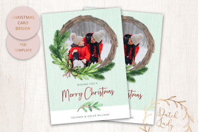 PSD Christmas Photo Card Template