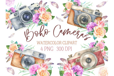 Watercolor Vintage boho Camera with roses and feathers Clipart. Retro