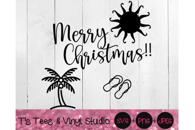 Merry Christmas Svg, Summer Christmas Svg, Palm Tree Svg, Flip Flops S