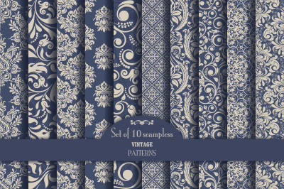 Set of 10 seamless pattern Baroque