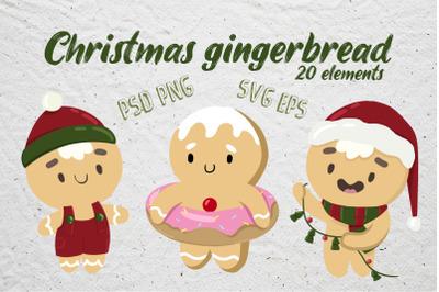Christmas gingerbread vector