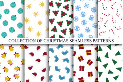 Christmas seamless colorful patterns