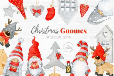Christmas Gnome Clipart, Christmas watercolor graphics