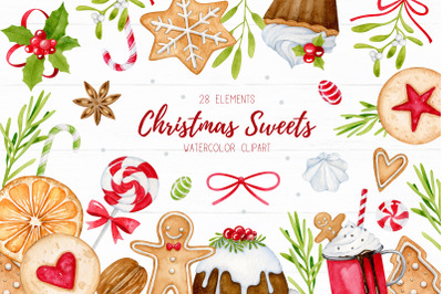 Watercolor christmas clipart, Christmas sweets, New Year
