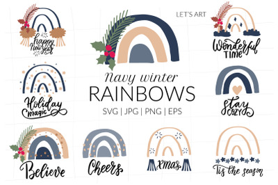 Navy Christmas rainbows with funny Christmas and New Year hand letteri