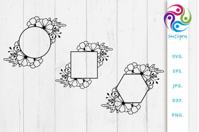 Floral Monogram Frame Bundle Svg File