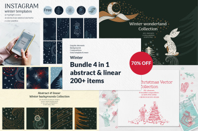 Abstract linear Winter graphic Bundle 70% OFF. 4 in 1