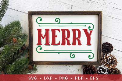 Merry, Christmas Sign SVG, DXF, EPS, PNG, PDF
