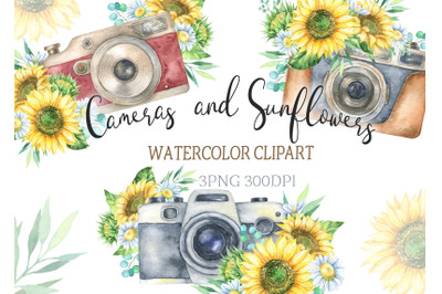 Watercolor Vintage boho Camera with sunflowers and chamomile Clipart.