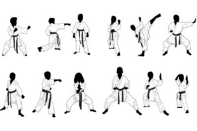 silhouettes of children karate